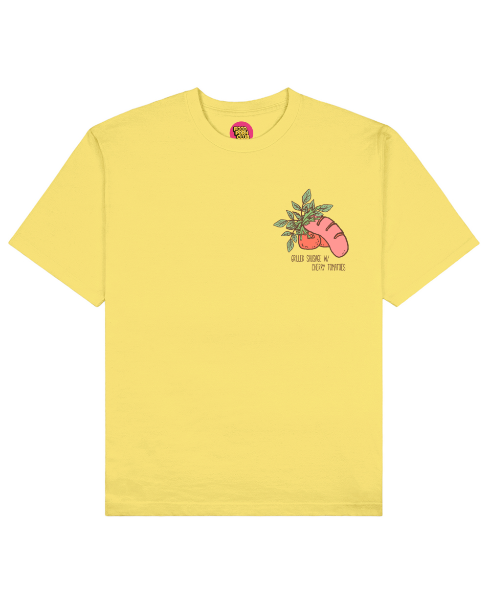 Grilled Sausage Print T-Shirt in Light Yellow - T-Shirts - FOOD PORN CLUB - BRANMA