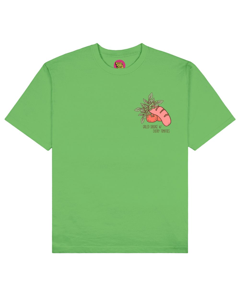 Grilled Sausage Print T-Shirt in Green - T-Shirts - FOOD PORN CLUB - BRANMA