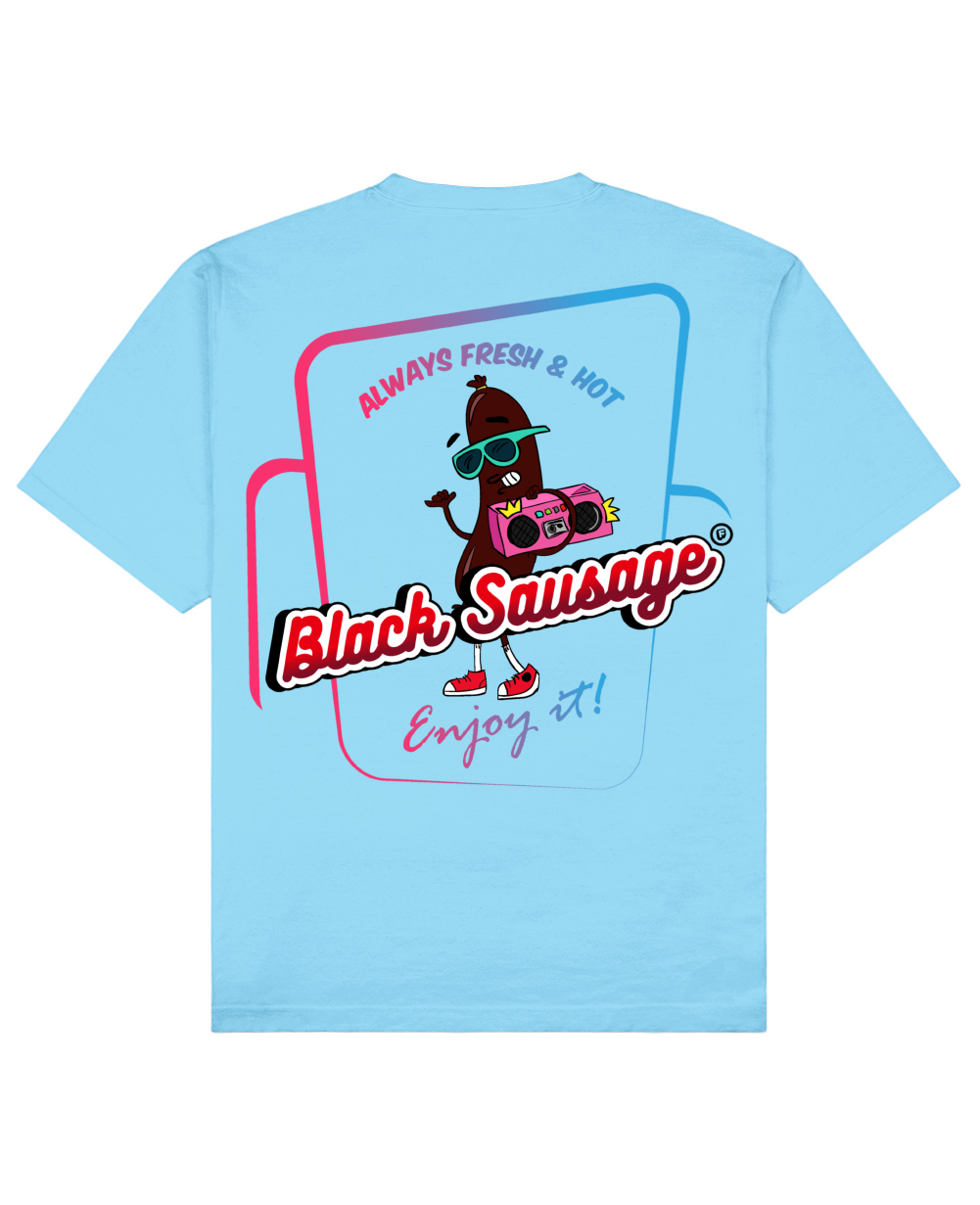 Black Sausage Print T-Shirt in Light Blue - T-Shirts - FOOD PORN CLUB - BRANMA