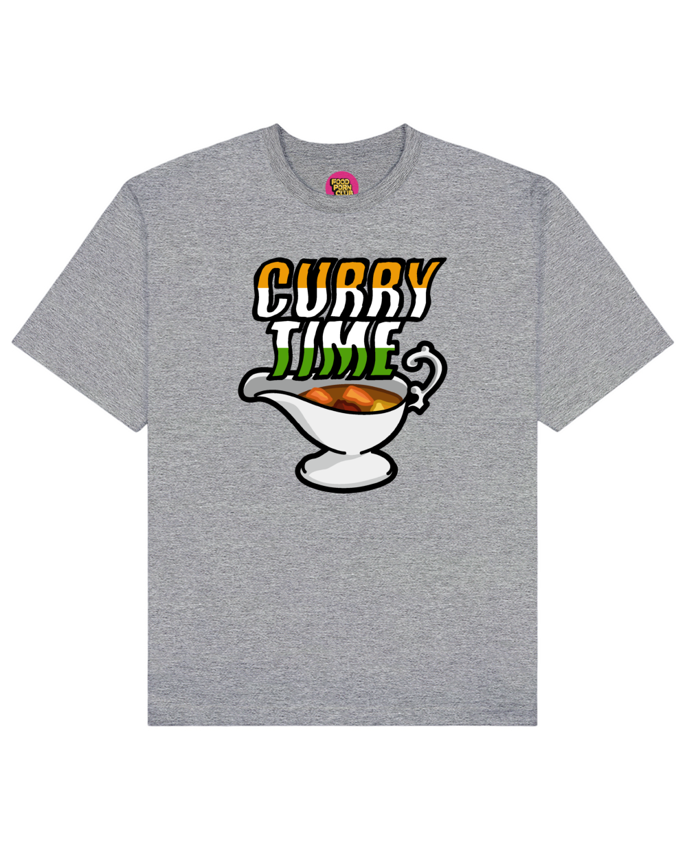 Curry Time Print T-Shirt in Gray - T-Shirts - FOOD PORN CLUB - BRANMA