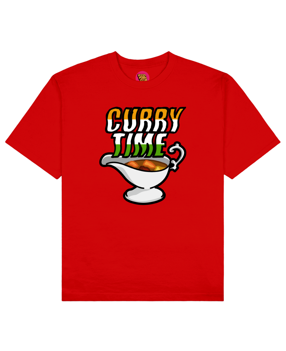 Curry Time Print T-Shirt in Red - T-Shirts - FOOD PORN CLUB - BRANMA