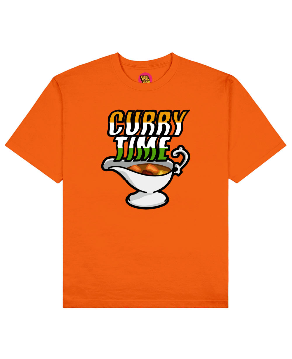 Curry Time Print T-Shirt in Orange - T-Shirts - FOOD PORN CLUB - BRANMA
