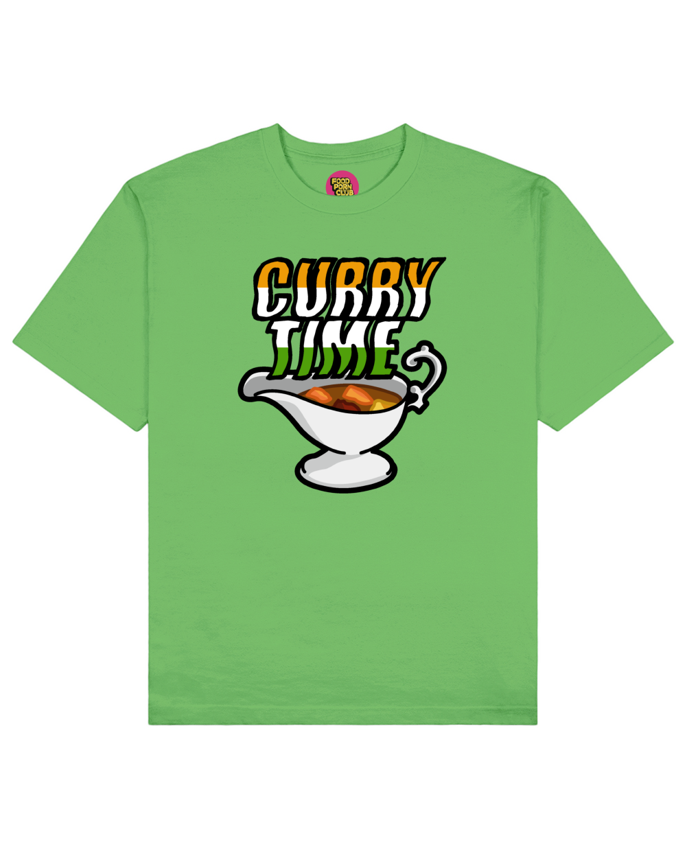 Curry Time Print T-Shirt in Green - T-Shirts - FOOD PORN CLUB - BRANMA