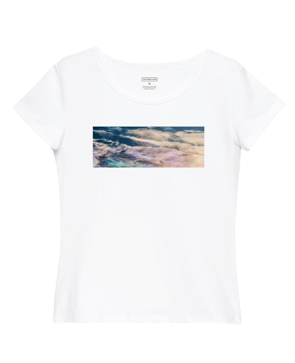Abstract Print Slim Fit T-Shirt in White - T-Shirts - INTERMISSION - BRANMA