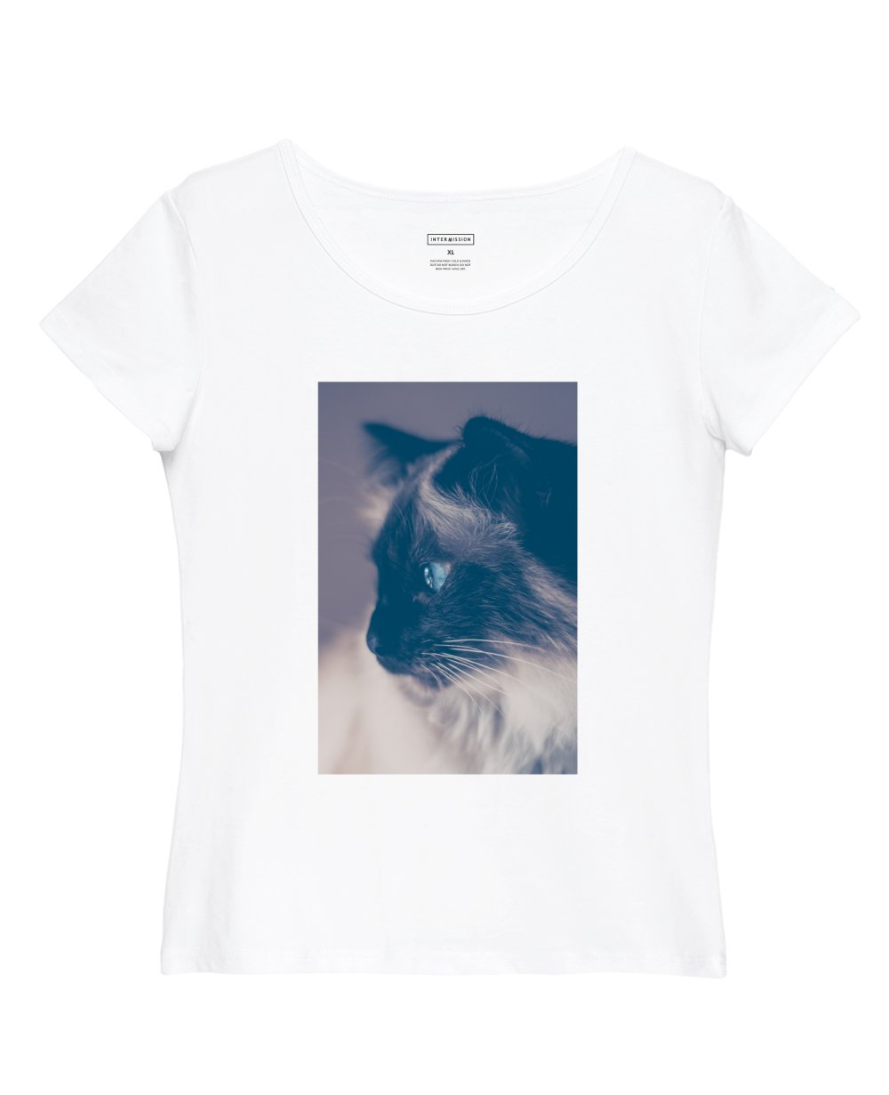 Cat Staring Print Slim Fit T-Shirt in White - T-Shirts - INTERMISSION - BRANMA