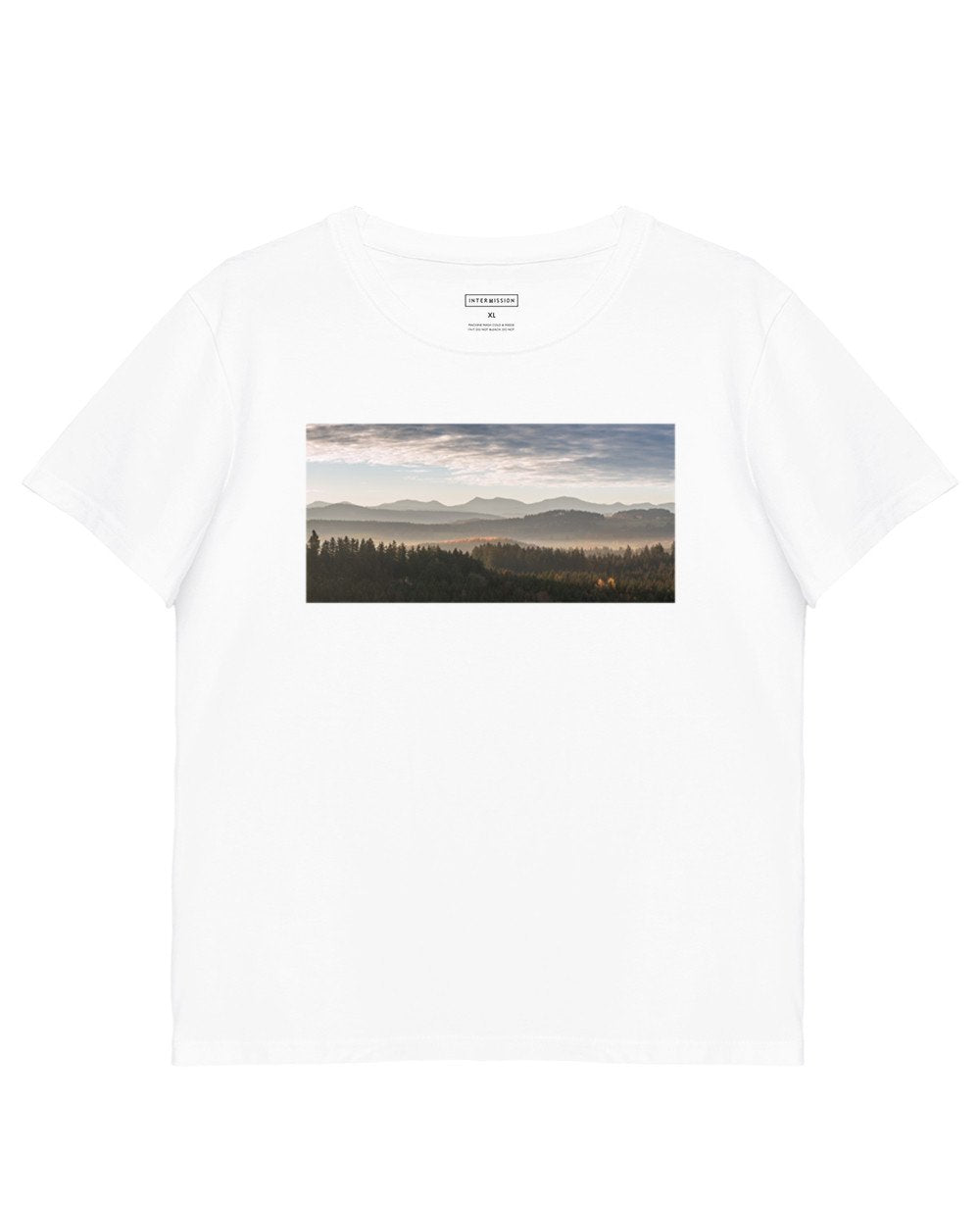 Landscape Print T-Shirt in White - T-Shirts - INTERMISSION - BRANMA