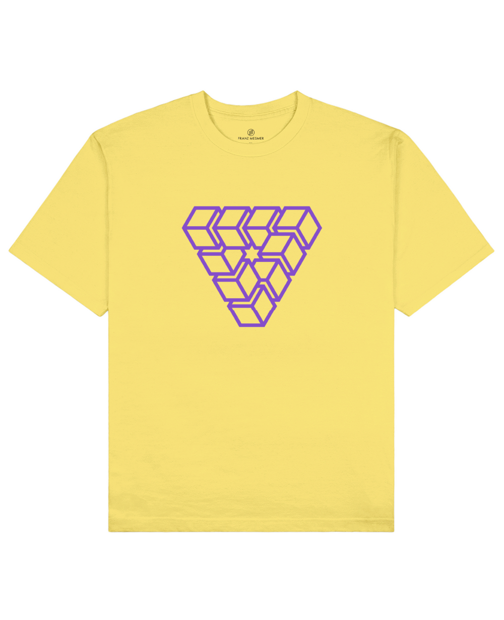 Impossible Shape Print T-Shirt in Light Yellow - T-Shirts - Franz Mesmer - BRANMA