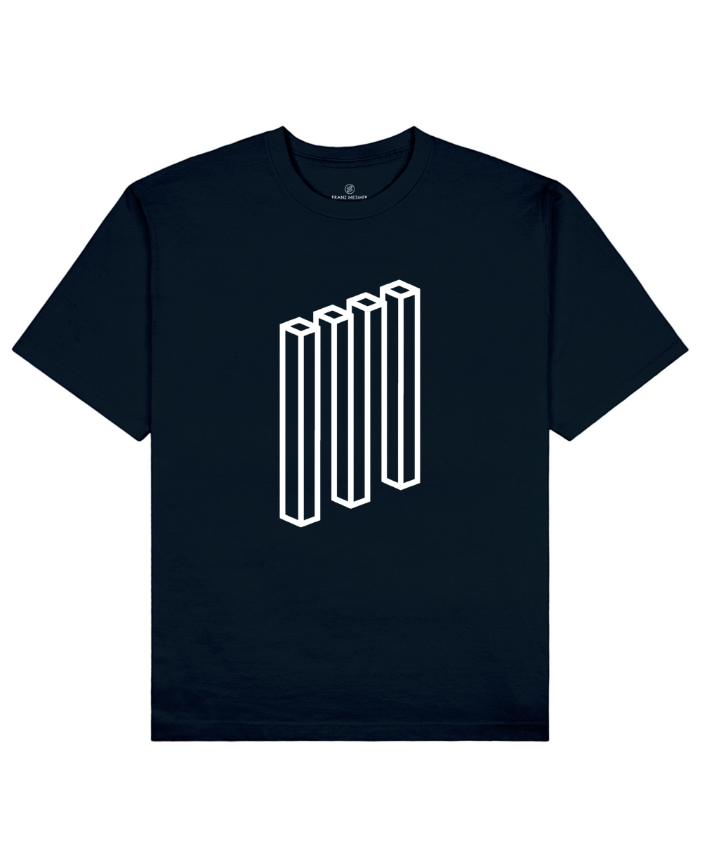 Impossible Rectangle Print T-Shirt in Navy - T-Shirts - Franz Mesmer - BRANMA