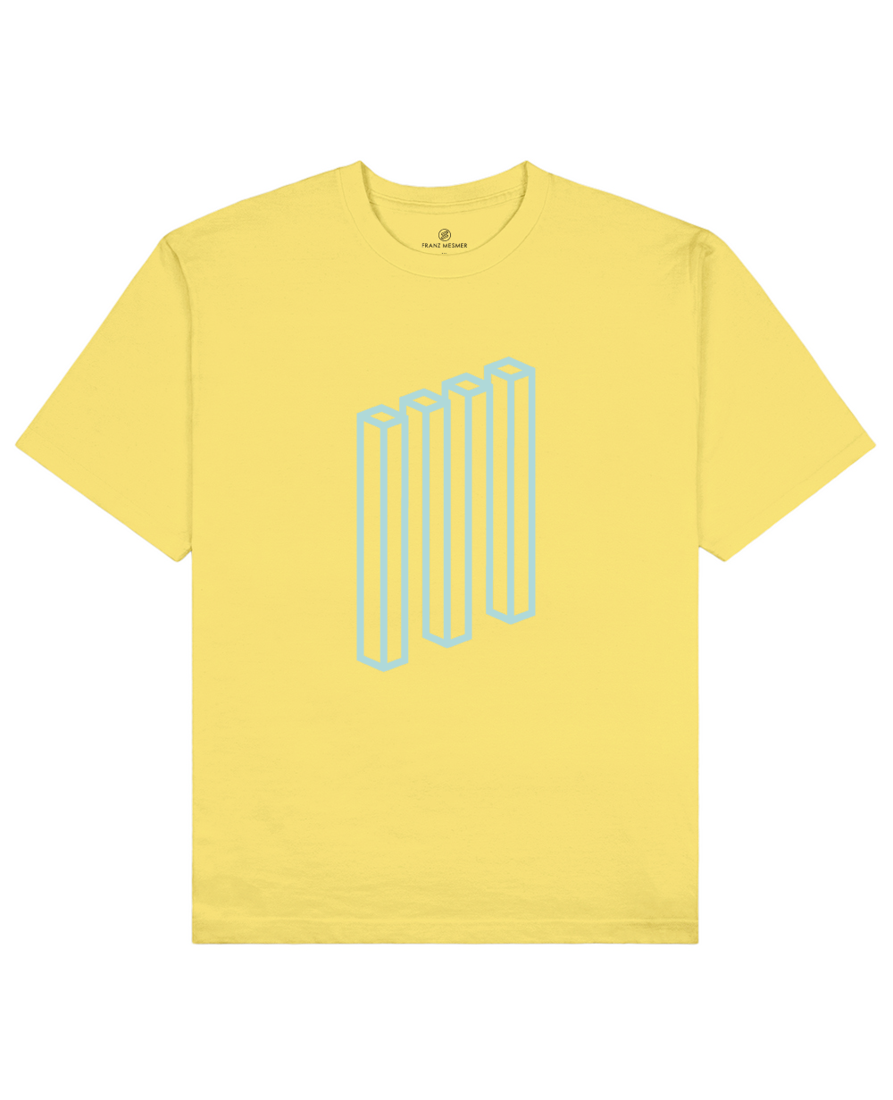 Impossible Rectangle Print T-Shirt in Light Yellow - T-Shirts - Franz Mesmer - BRANMA