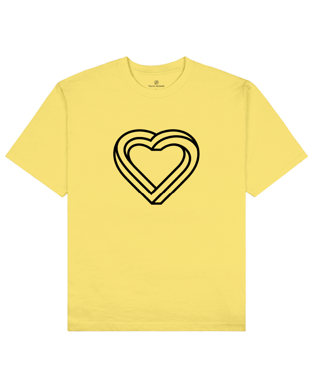 Impossible Heart Print T-Shirt in Light Yellow - T-Shirts - Franz Mesmer - BRANMA