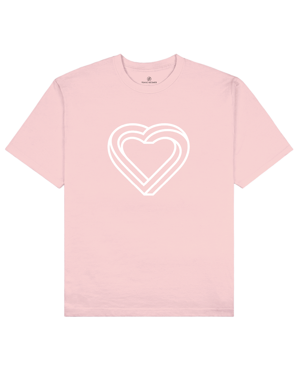 Impossible Heart Print T-Shirt in Pink - T-Shirts - Franz Mesmer - BRANMA