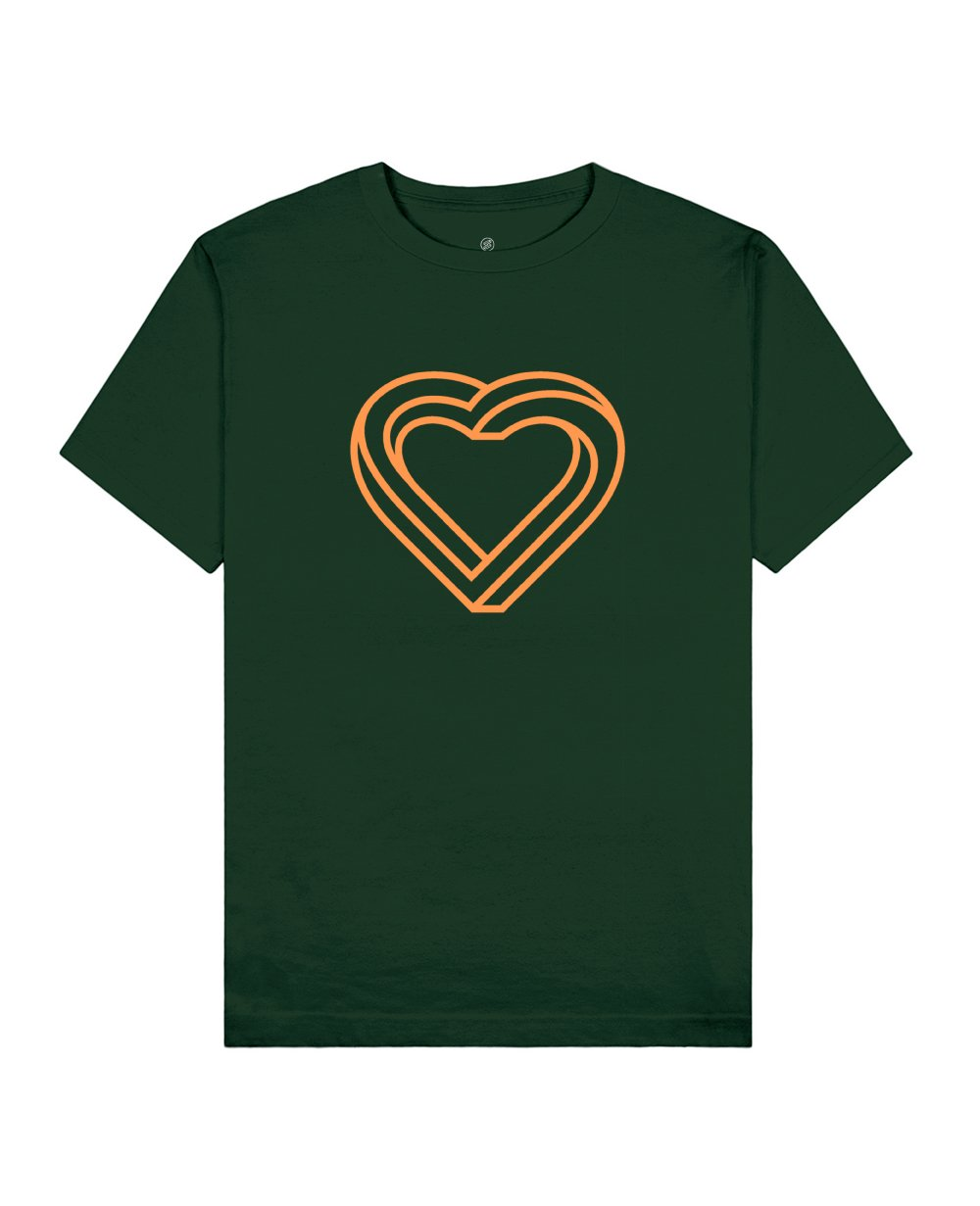 Impossible Heart Print T-Shirt in Green - T-Shirts - Franz Mesmer - BRANMA