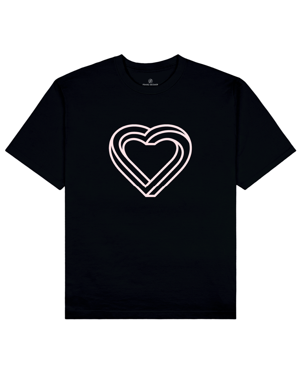 Impossible Heart Print T-Shirt in Black - T-Shirts - Franz Mesmer - BRANMA