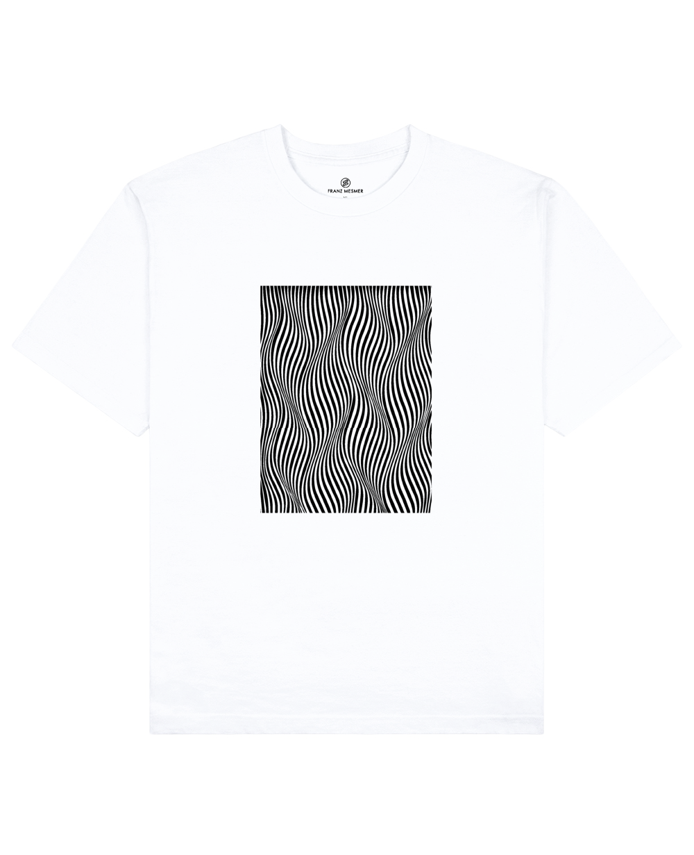Optical Wave Illusion Print T-Shirt in White - T-Shirts - Franz Mesmer - BRANMA