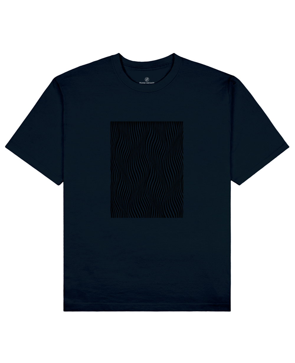 Optical Wave Illusion Print T-Shirt in Navy - T-Shirts - Franz Mesmer - BRANMA