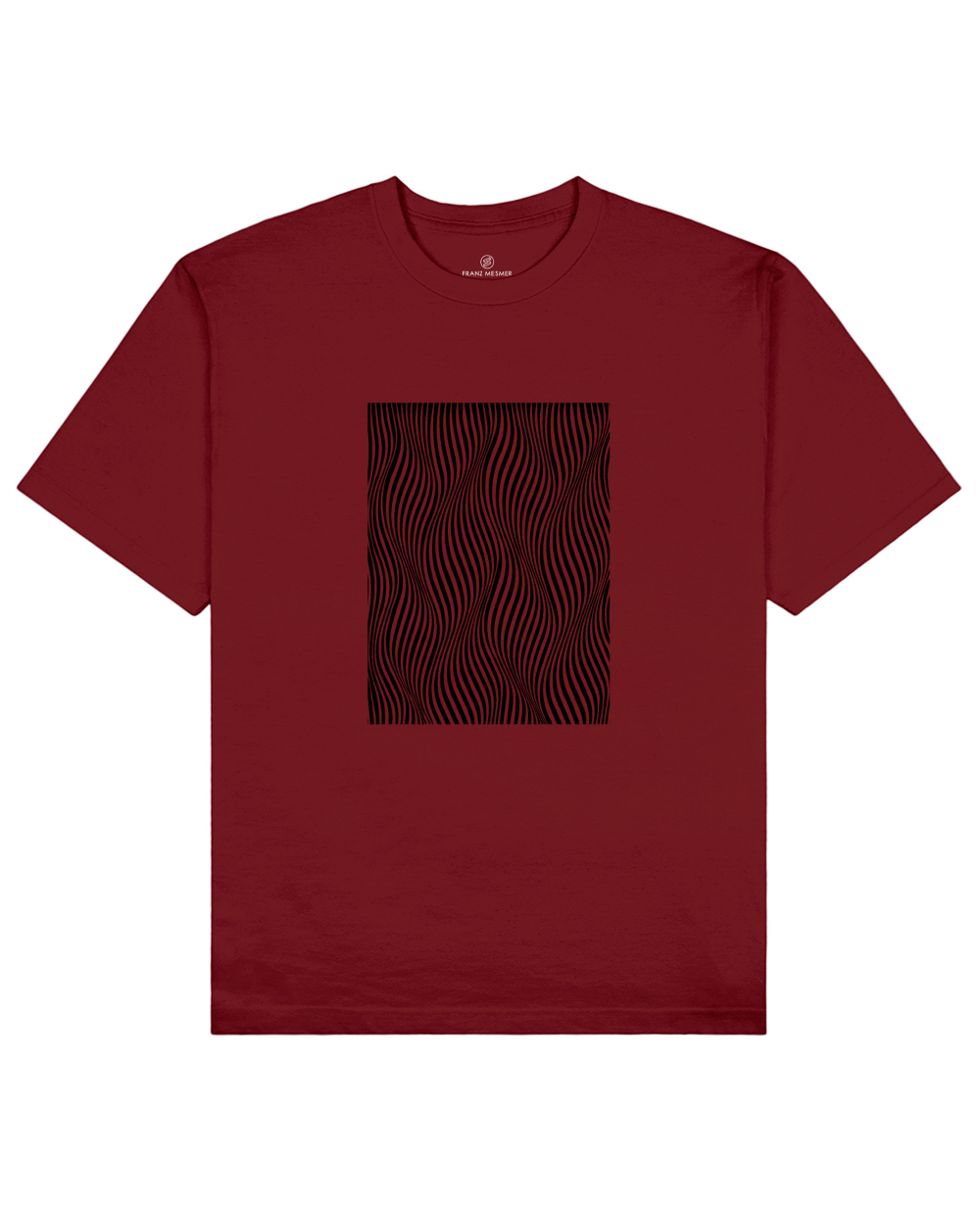 Optical Wave Illusion Print T-Shirt in Red - T-Shirts - Franz Mesmer - BRANMA