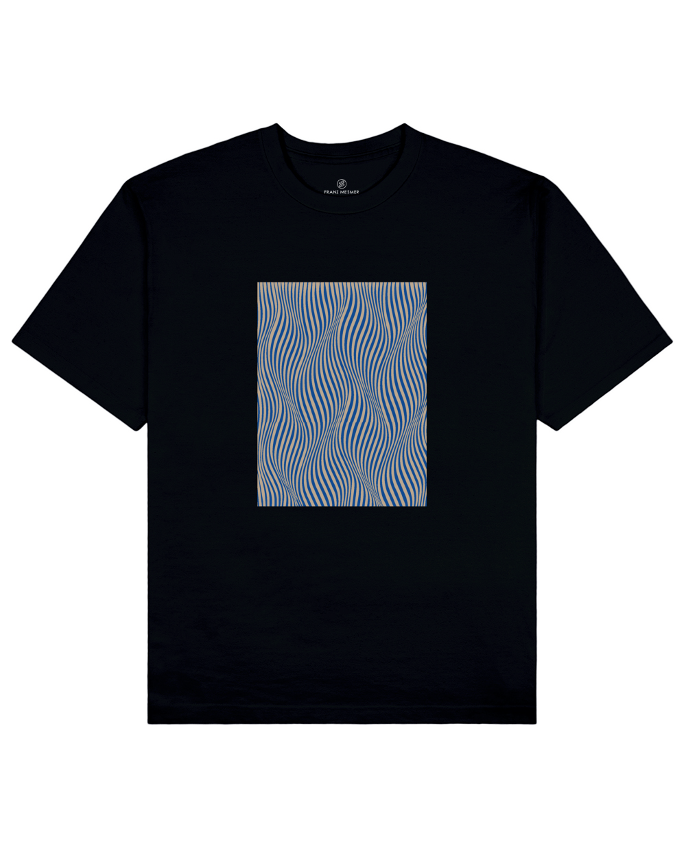 Optical Wave Illusion Print T-Shirt in Black - T-Shirts - Franz Mesmer - BRANMA