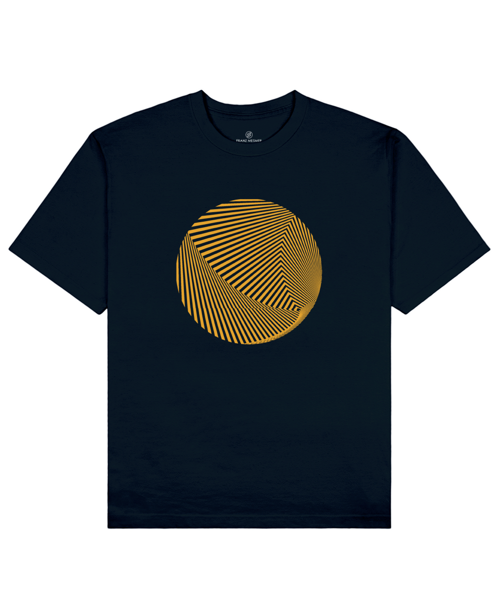 Optical Illusion Print T-Shirt in Navy - T-Shirts - Franz Mesmer - BRANMA