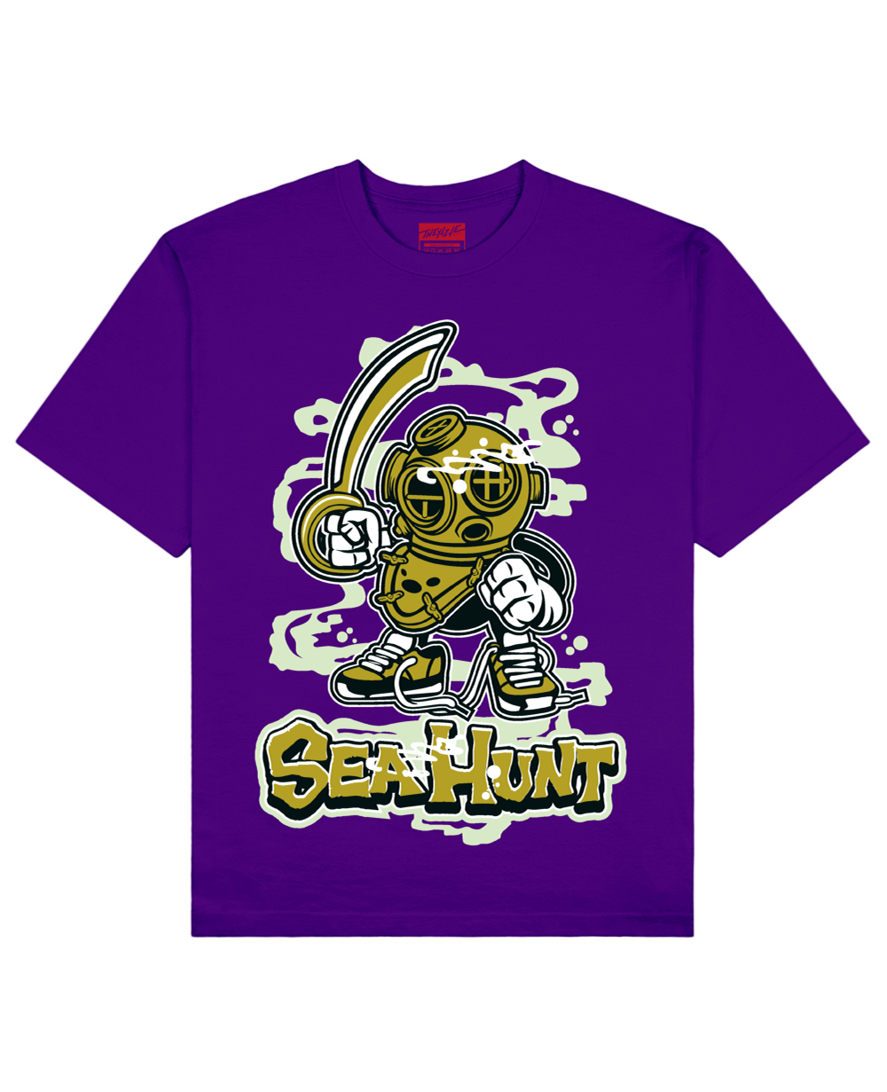 Sea Hunt Print T-Shirt in Purple - T-Shirts - THEYLIVE - BRANMA