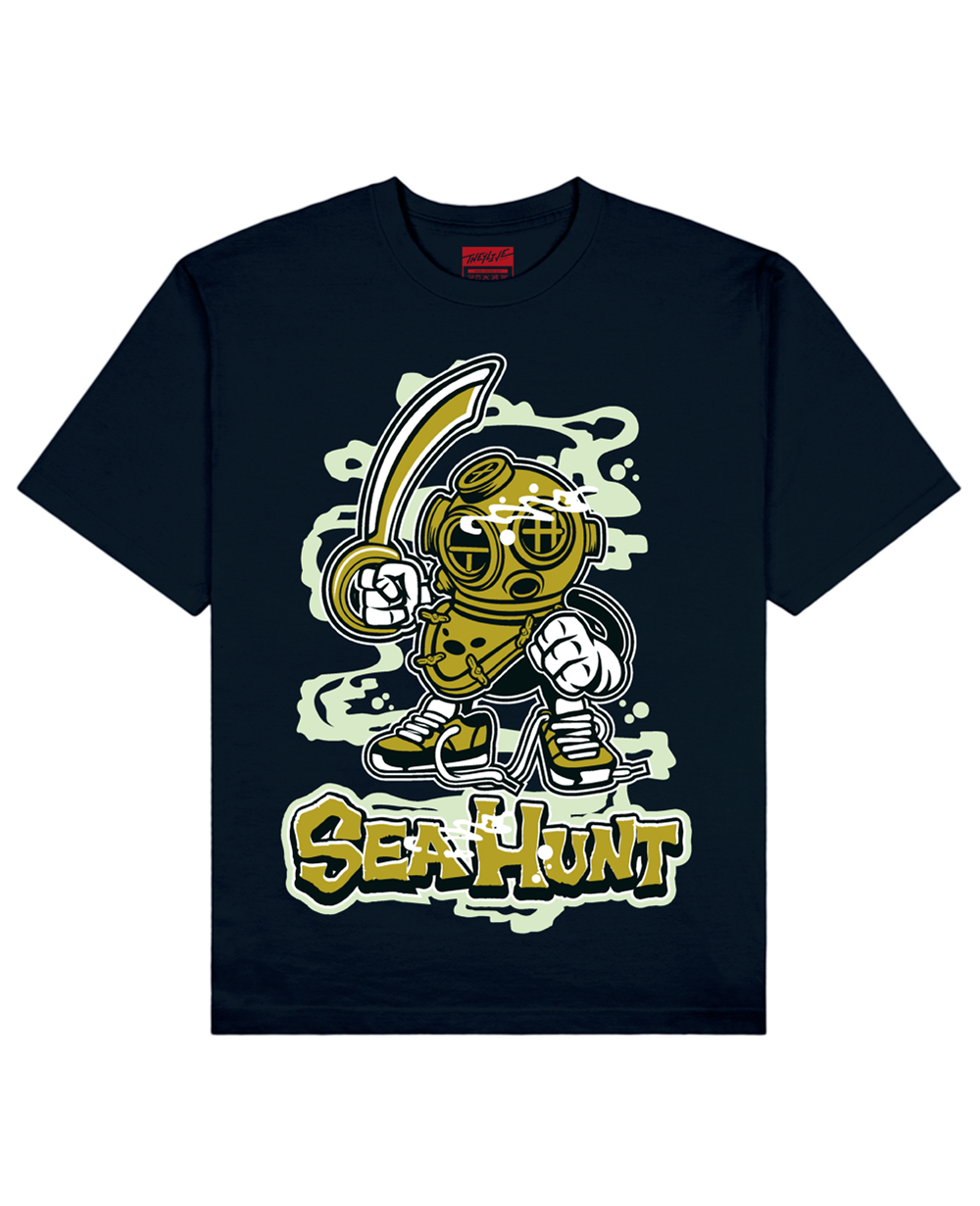 Sea Hunt Print T-Shirt in Navy - T-Shirts - THEYLIVE - BRANMA