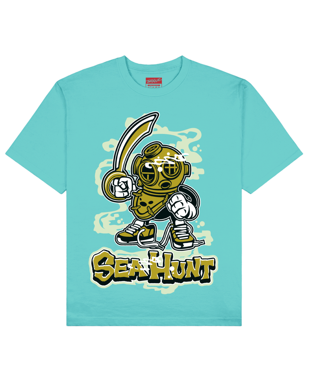Sea Hunt Print T-Shirt in Aqua Green - T-Shirts - THEYLIVE - BRANMA