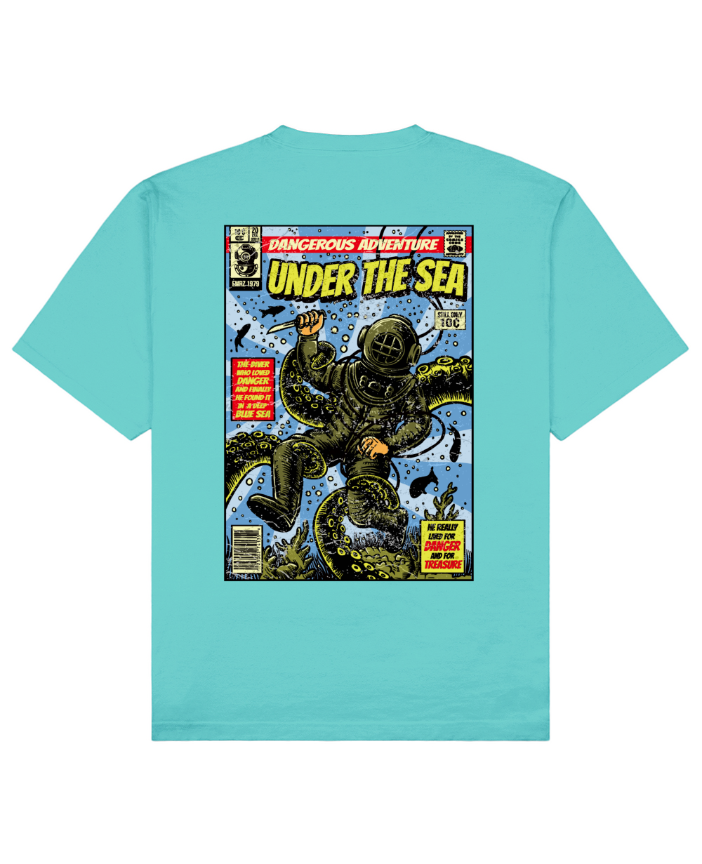 Under The Sea Print T-Shirt in Aqua Blue - T-Shirts - THEYLIVE - BRANMA