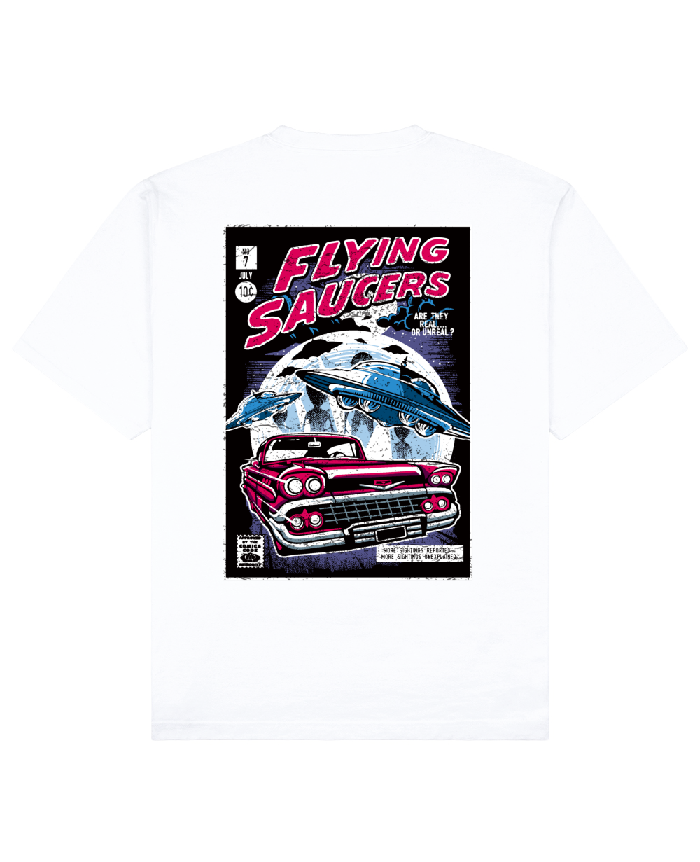 Flying Saucers Print T-Shirt in White - T-Shirts - THEYLIVE - BRANMA