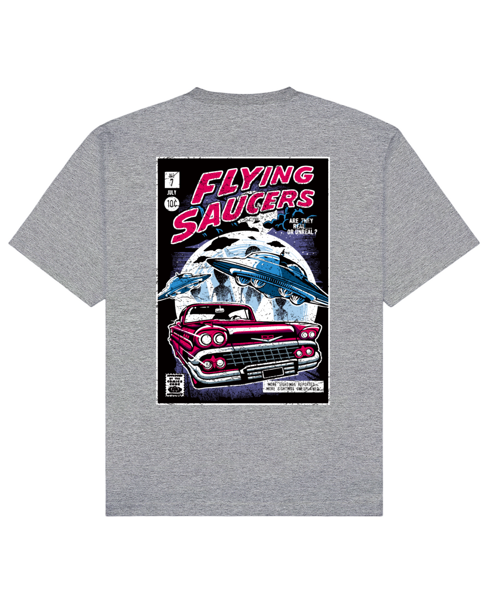 Flying Saucers Print T-Shirt in Heather Gray - T-Shirts - THEYLIVE - BRANMA