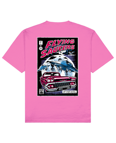 Flying Saucers Print T-Shirt in Pink - T-Shirts - THEYLIVE - BRANMA