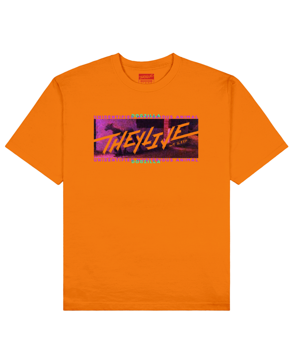 UMA Collection : Dogzilla Print T-Shirt in Orange - T-Shirts - THEYLIVE - BRANMA