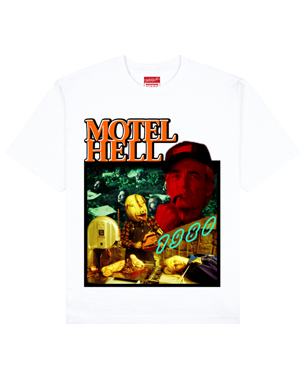 Motel Hell Print T-Shirt in White - T-Shirts - THEYLIVE - BRANMA