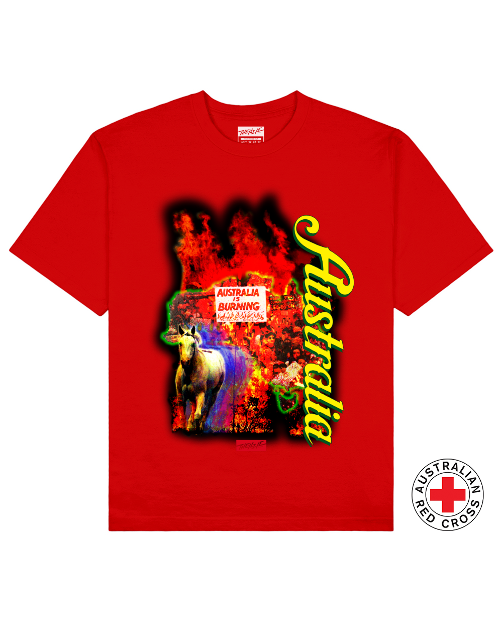AUSTRALIA Print T-Shirt in Red - T-Shirts - THEYLIVE - BRANMA