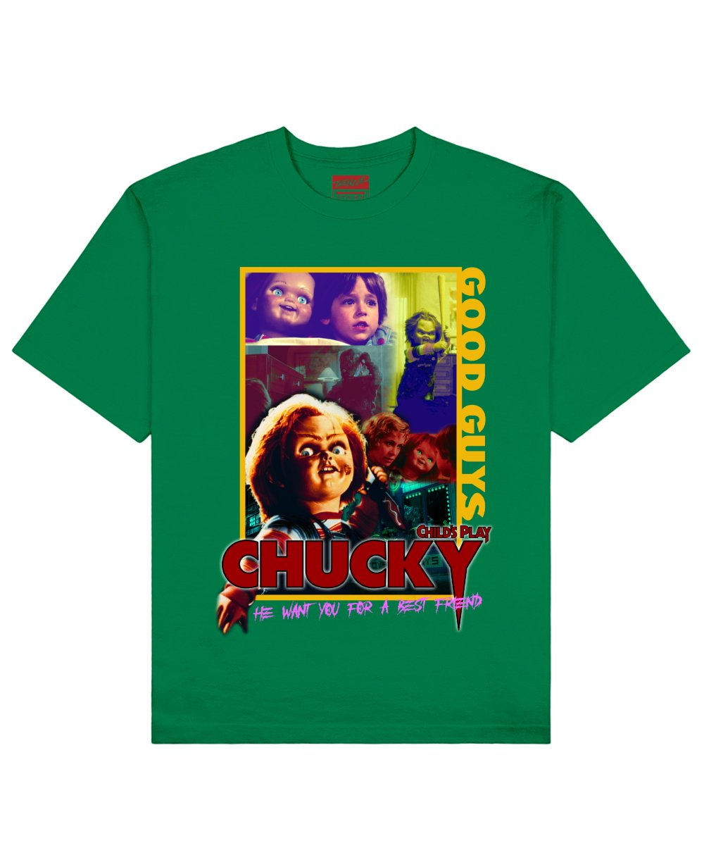 Child's Play : Chucky Print T-Shirt in Green