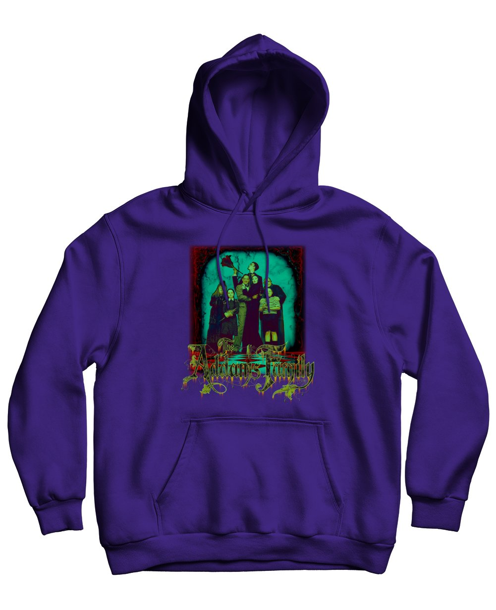 The Addams Family Print Hoodies in Purple