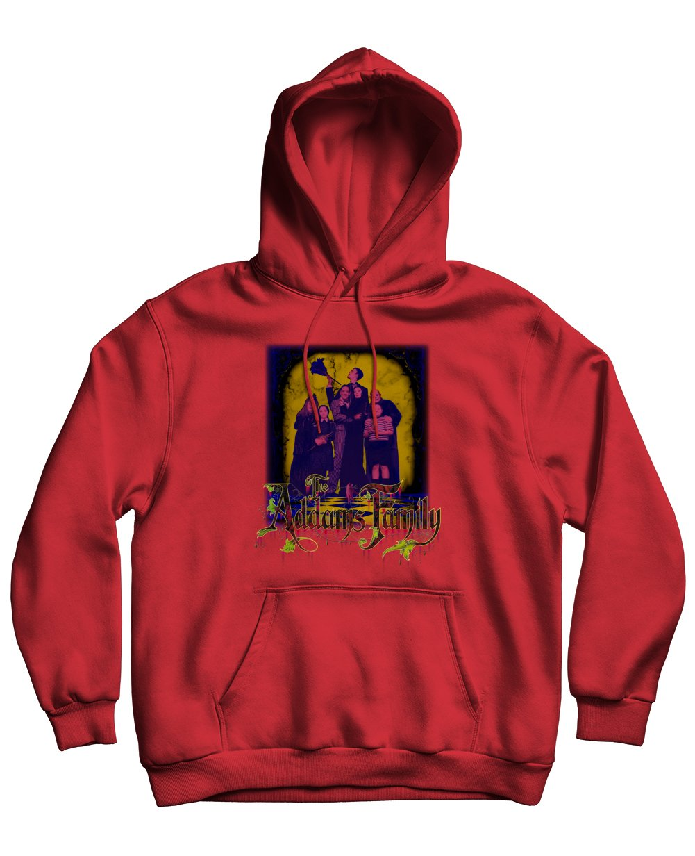The Addams Family Print Hoodies in Red