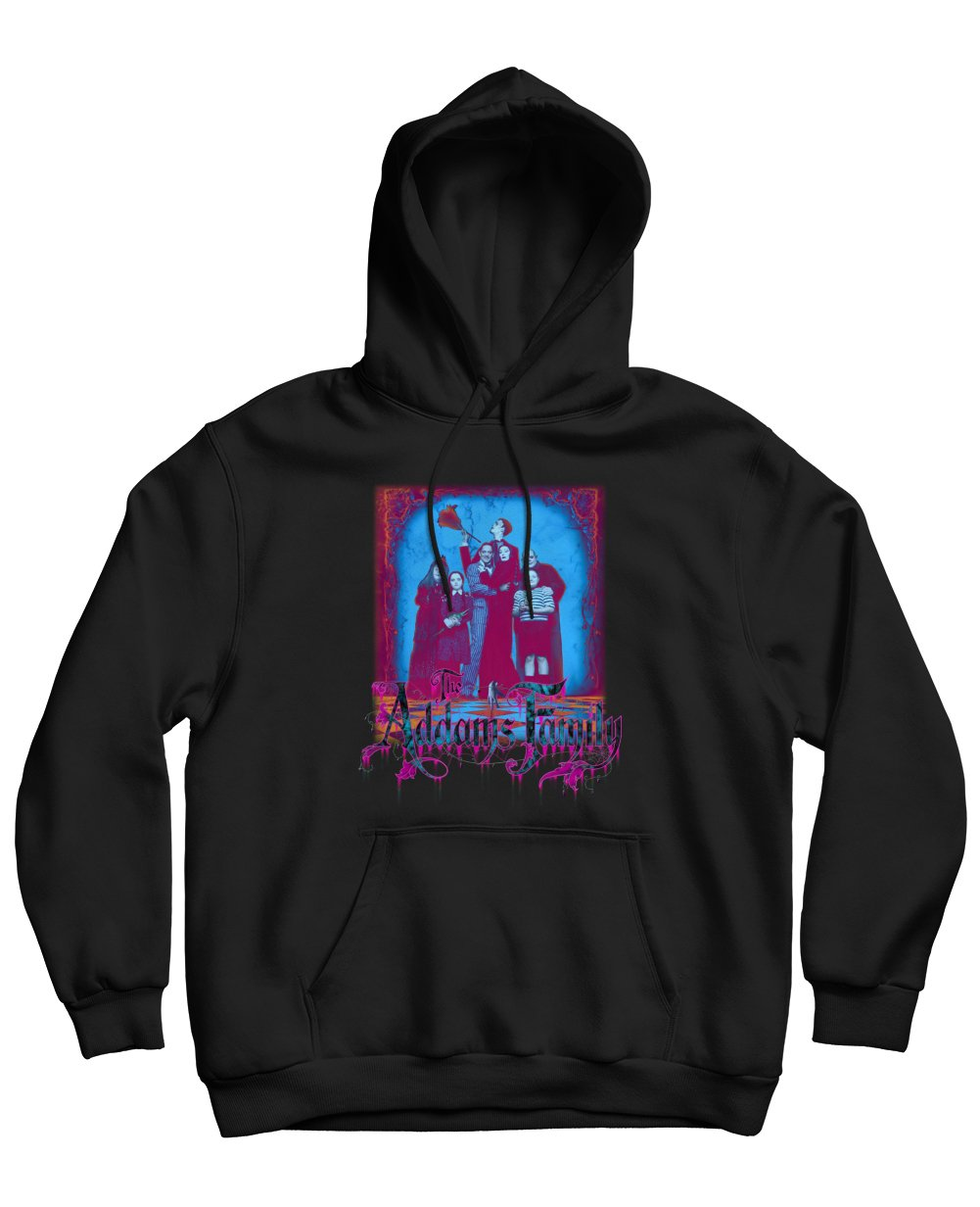 The Addams Family Print Hoodies in Black