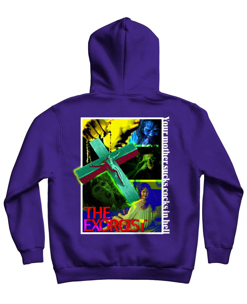 The Exorcist Print Hoodies in Purple