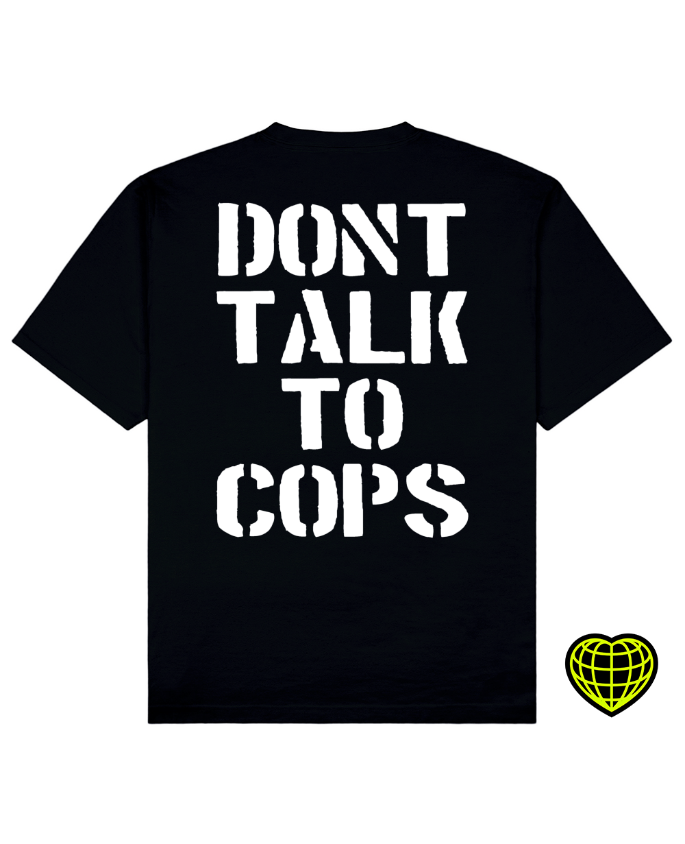 Dont Talk To Cops Print T-shirt in Black - T-Shirts - MIDNIGHT RATS - BRANMA