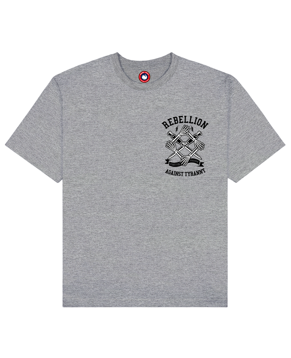 Rebellion Print T-Shirt in Gray - T-Shirts - MOBY DICK - BRANMA