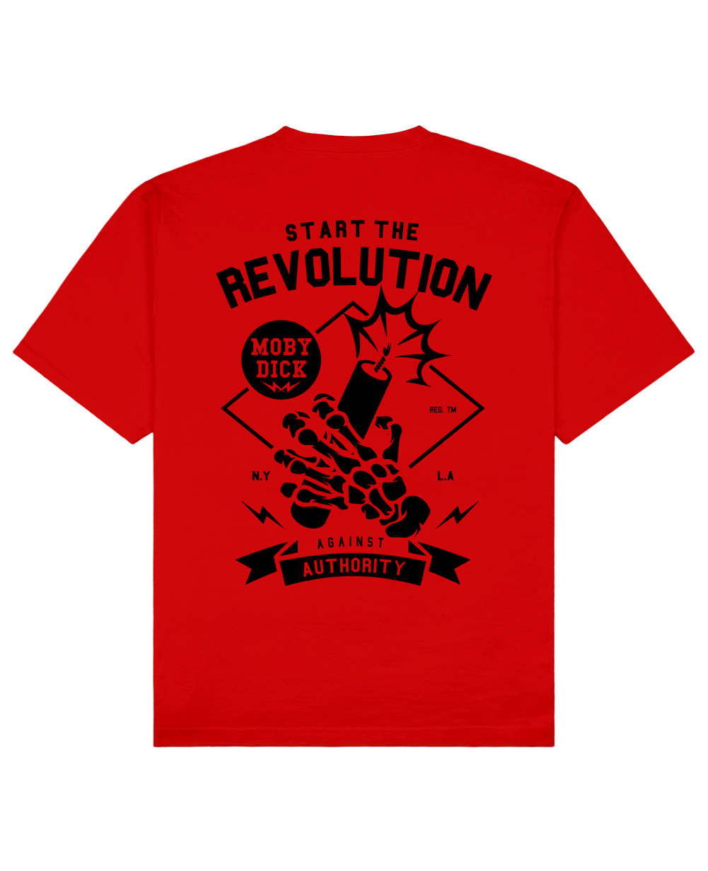 Revolution Print T-Shirt in Red - T-Shirts - MOBY DICK - BRANMA