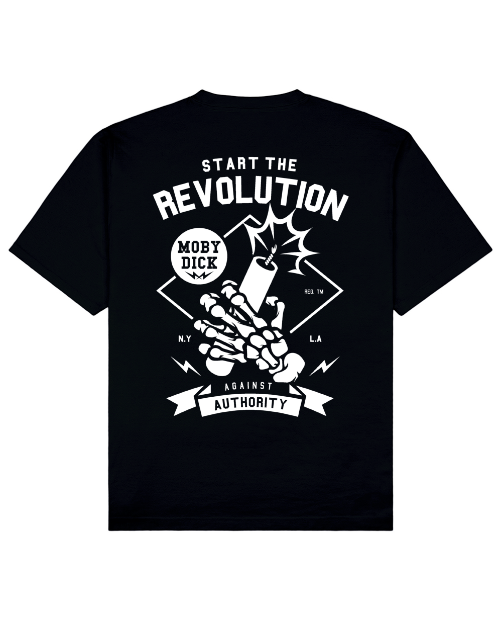 Revolution Print T-Shirt in Black - T-Shirts - MOBY DICK - BRANMA
