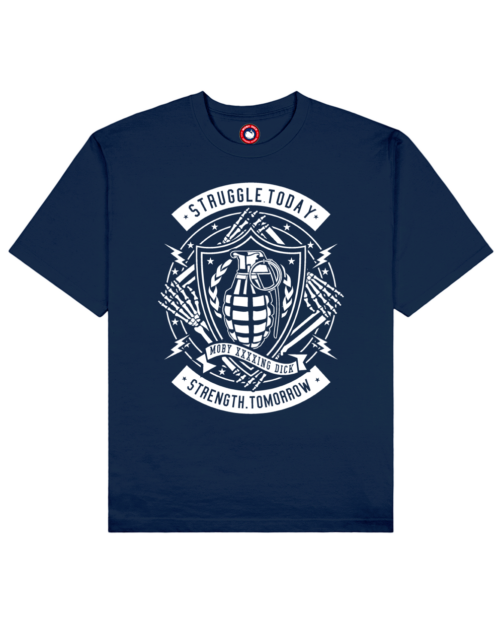 Struggle Print T-Shirt in Blue - T-Shirts - MOBY DICK - BRANMA
