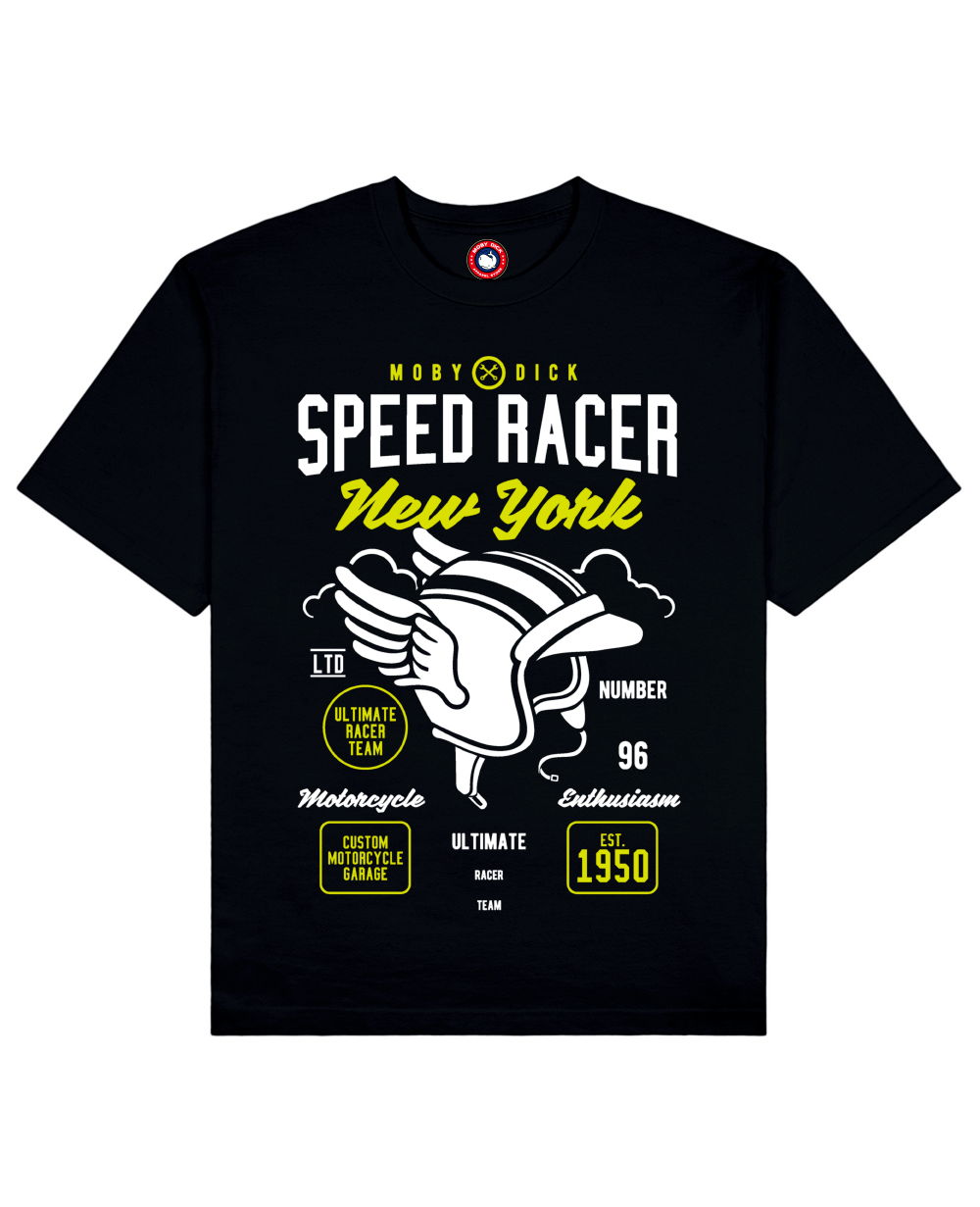 Speed Racer Print T-Shirt in Black - T-Shirts - MOBY DICK - BRANMA