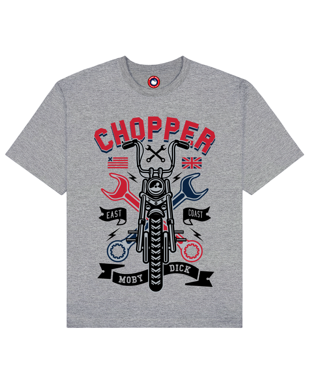 Chopper Print T-Shirt in Gray - T-Shirts - MOBY DICK - BRANMA