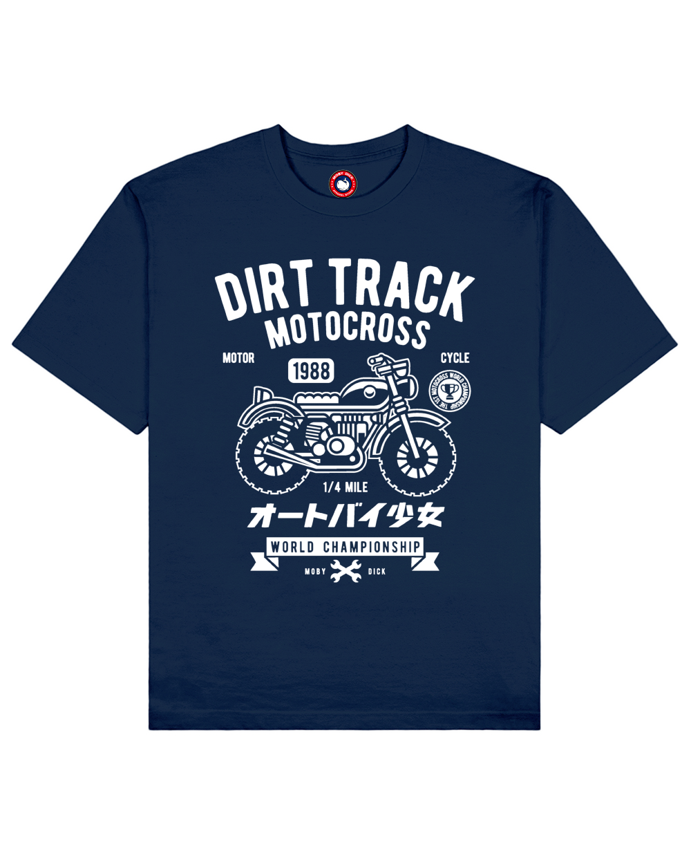 Dirt Track Print T-Shirt in Blue - T-Shirts - MOBY DICK - BRANMA