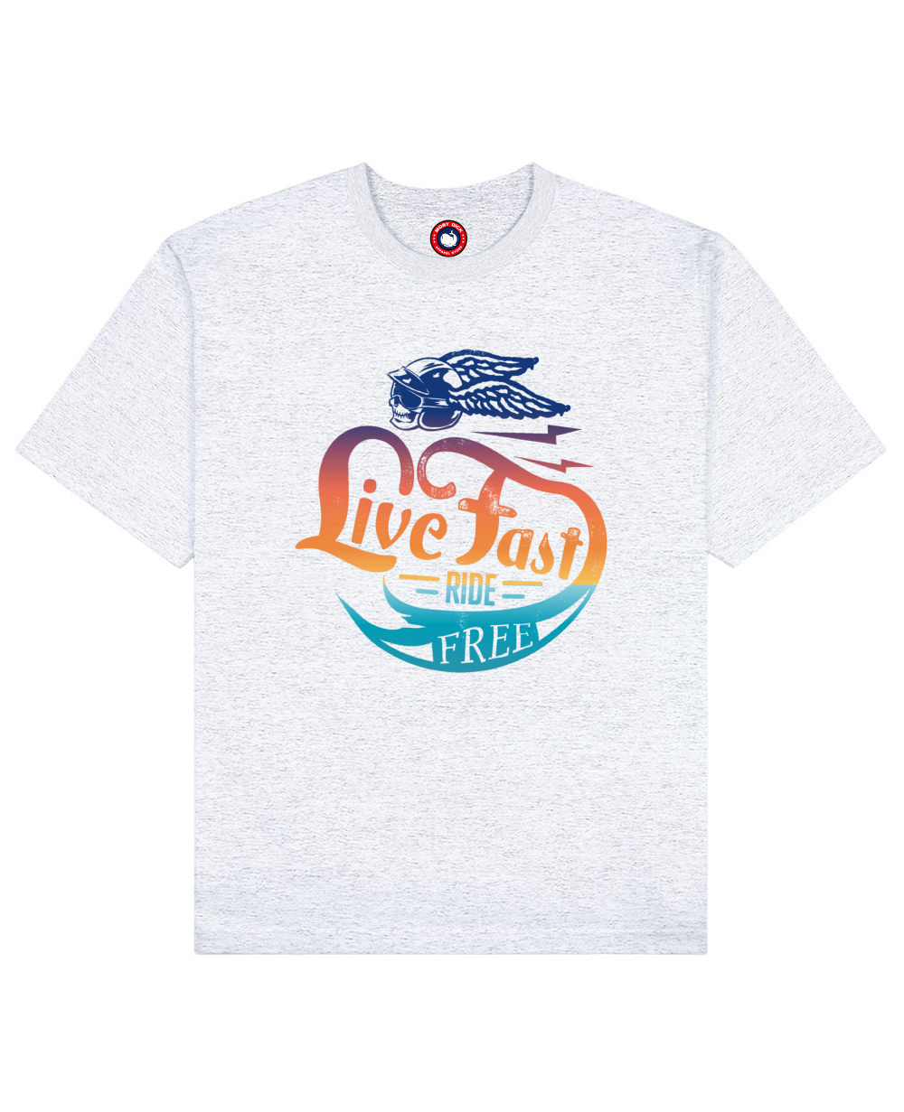 Live Fast Ride Free Print T-Shirt in Light Gray - T-Shirts - MOBY DICK - BRANMA