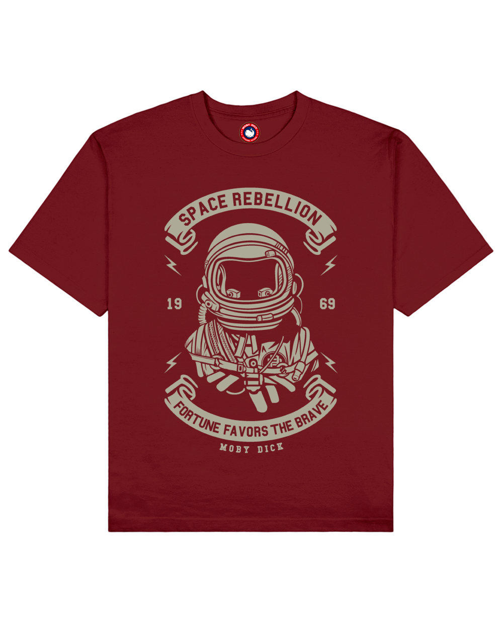 Space Rebellion Print T-Shirt in Red