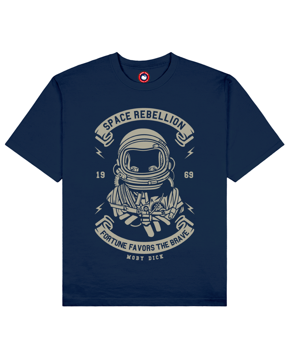 Space Rebellion Print T-Shirt in Blue
