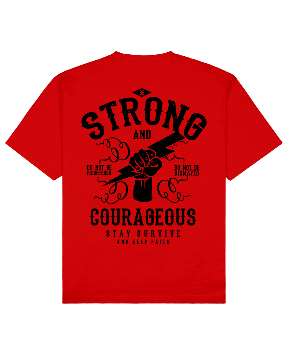 Strong And Courageous Print T-Shirt in Red