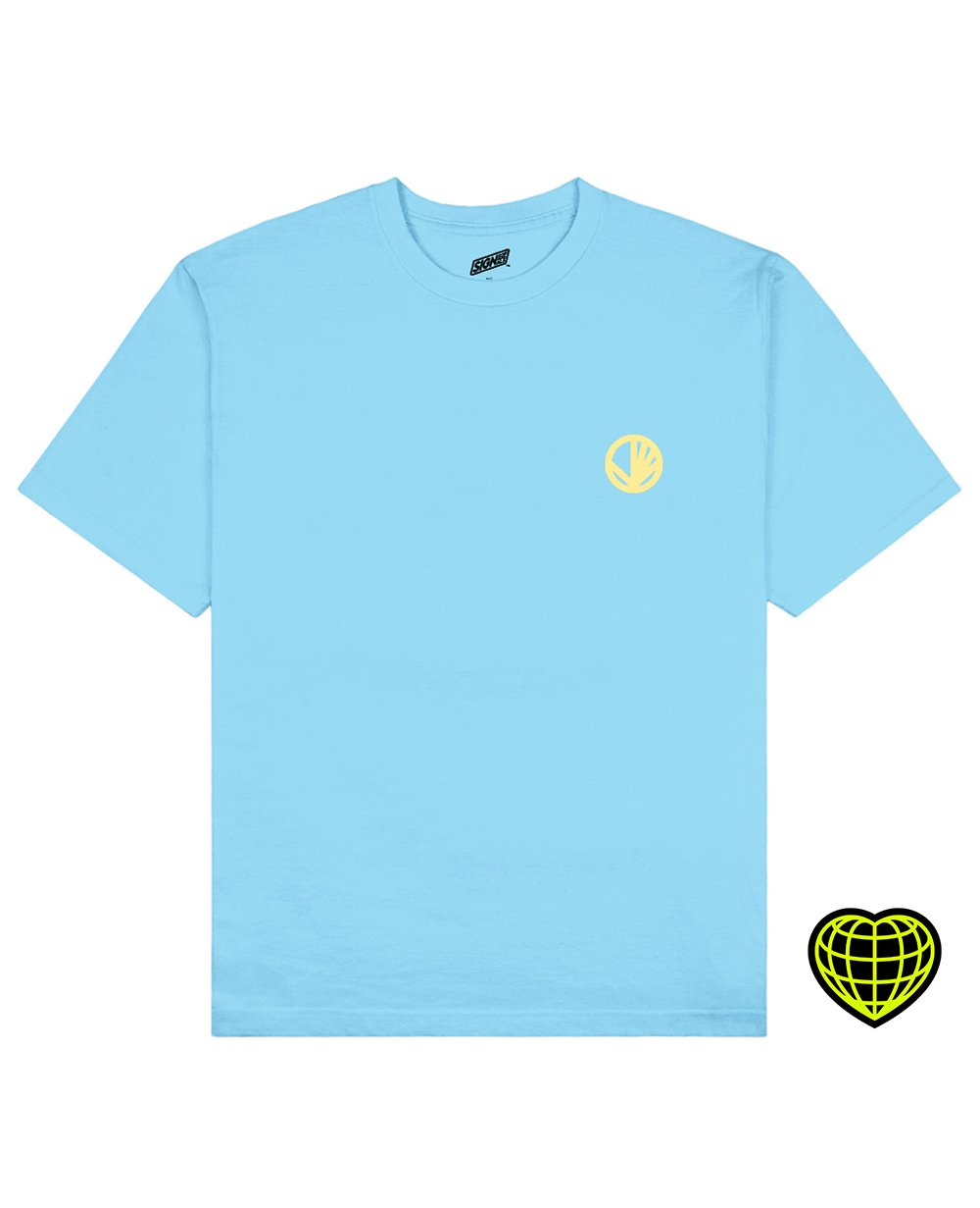 Circle with beams Print T-shirt in Light Blue - T-shirts - Signs of Signals - BRANMA